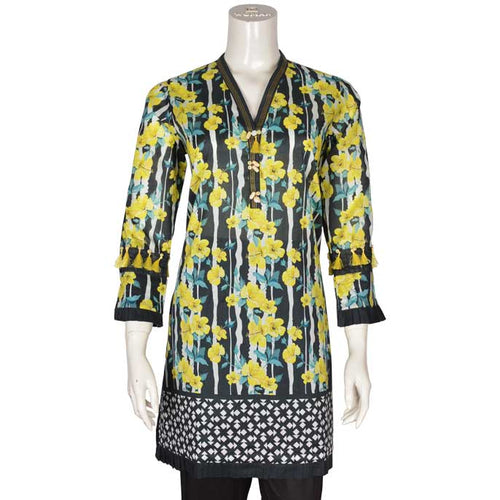Women Stitched Kurti In Yellow (WKL0079-Yellow)