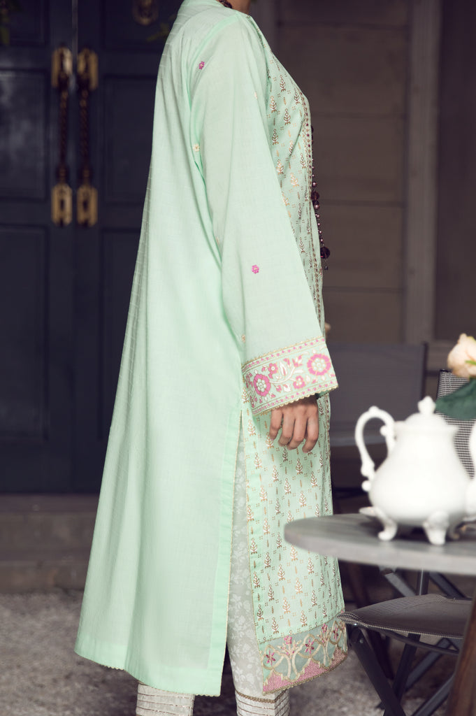 Embroided Dobby Kurti WKL0460-C-GREEN - Diners