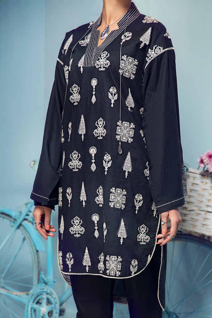 Women Stitched Kurti In Black SKU: WKL0529-BLACK - Diners