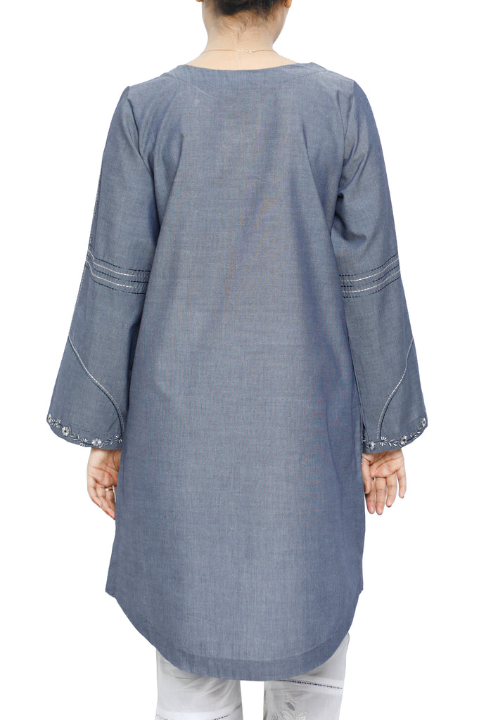 Women Stitched Kurti In Blue SKU: WKL0585-BLUE - Diners