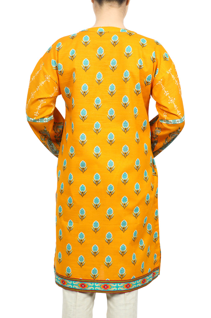Women Stitched Kurti In Yellow SKU: WKL0605-YELLOW - Diners