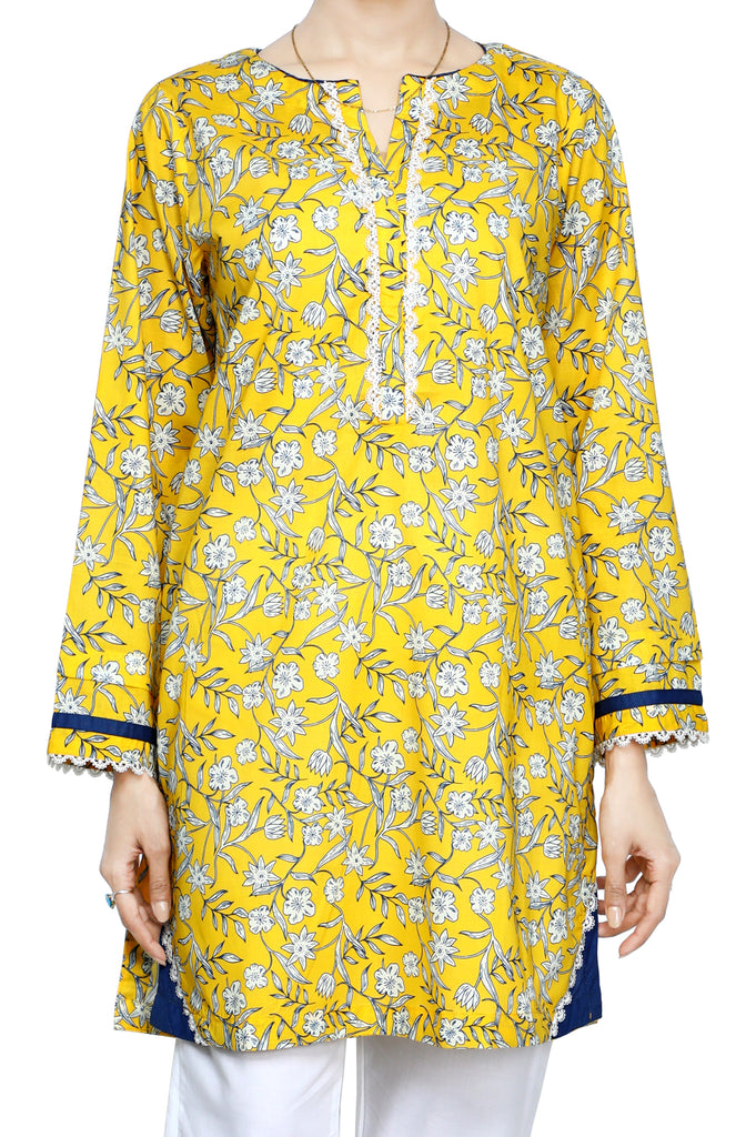 Women Stitched Kurti In Yellow SKU: WKL0673-YELLOW - Diners