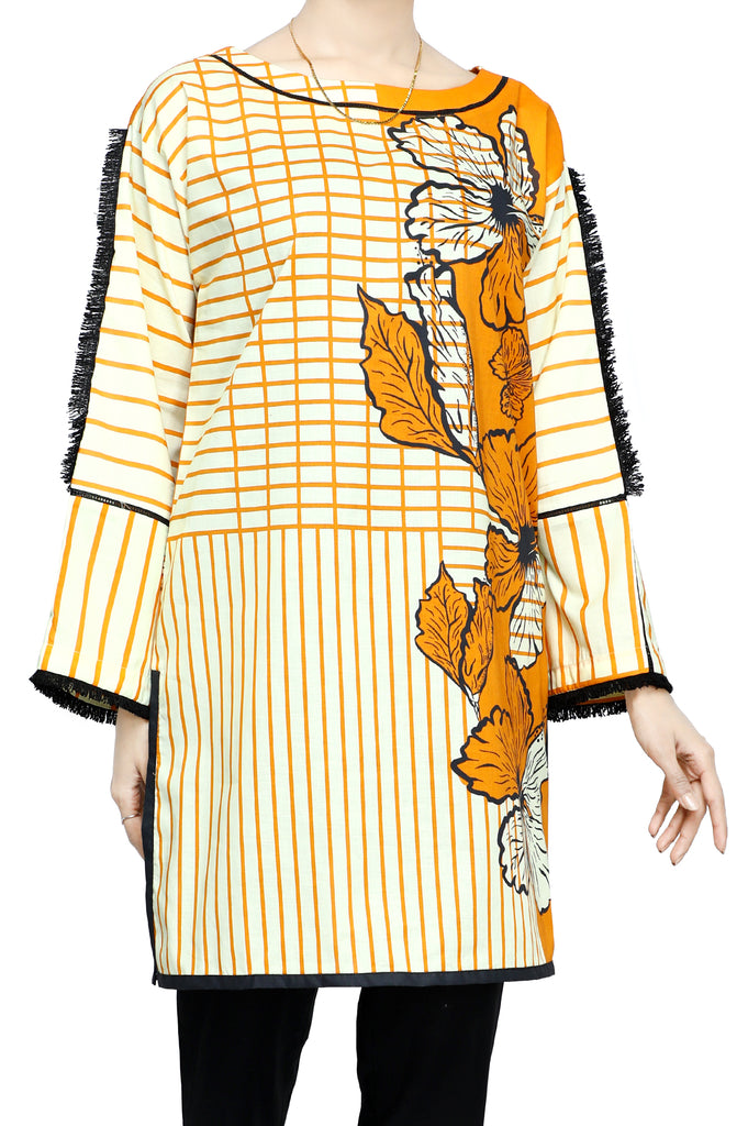 Women Stitched Kurti In Yellow SKU: WKL0684-YELLOW - Diners