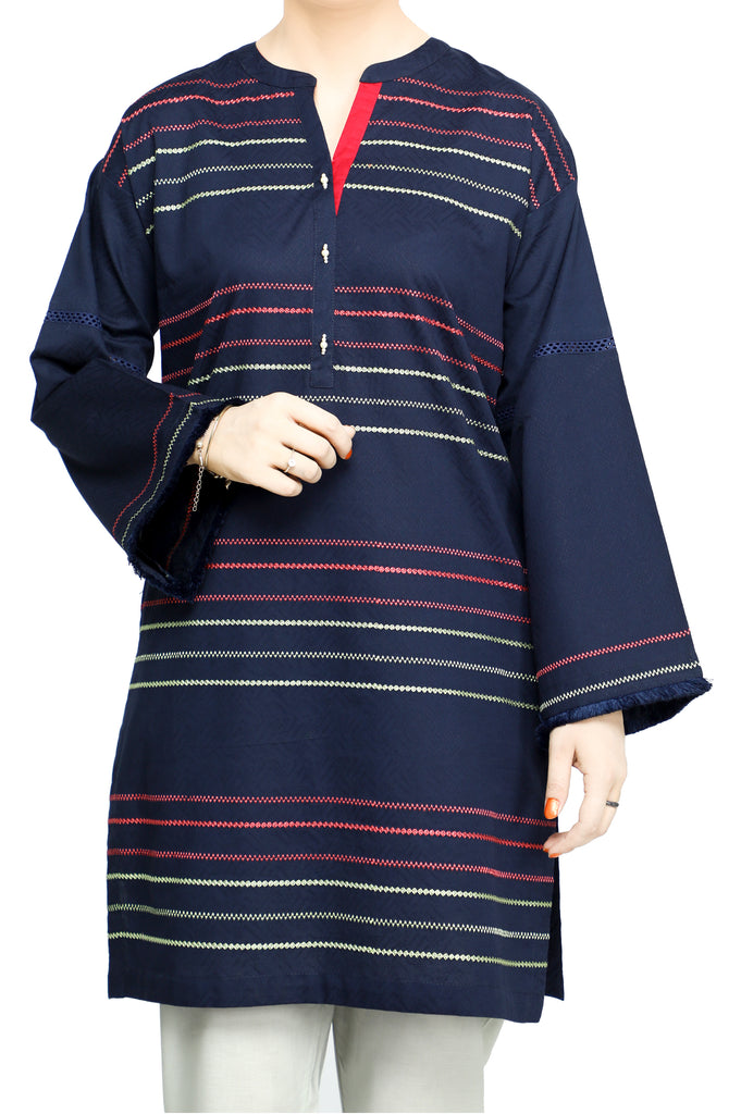 Women Stitched Kurti In Blue SKU: WKL0704-BLUE - Diners