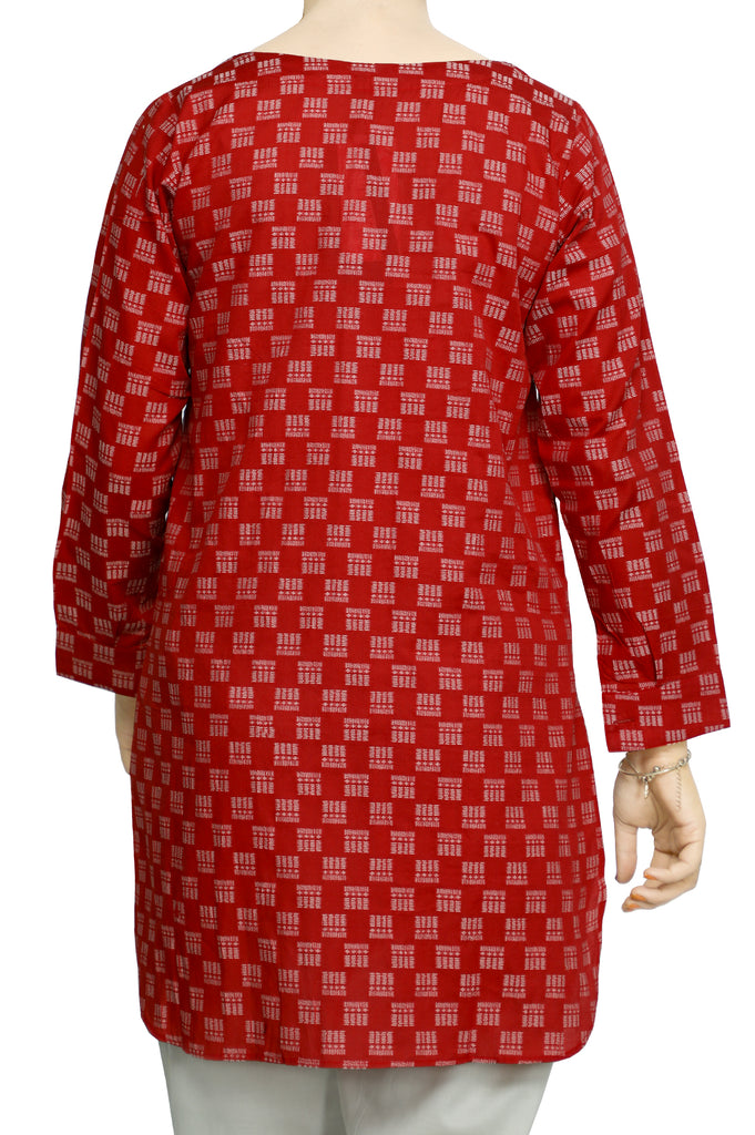 Women Stitched Kurti In Red SKU: WKL0741-RED - Diners