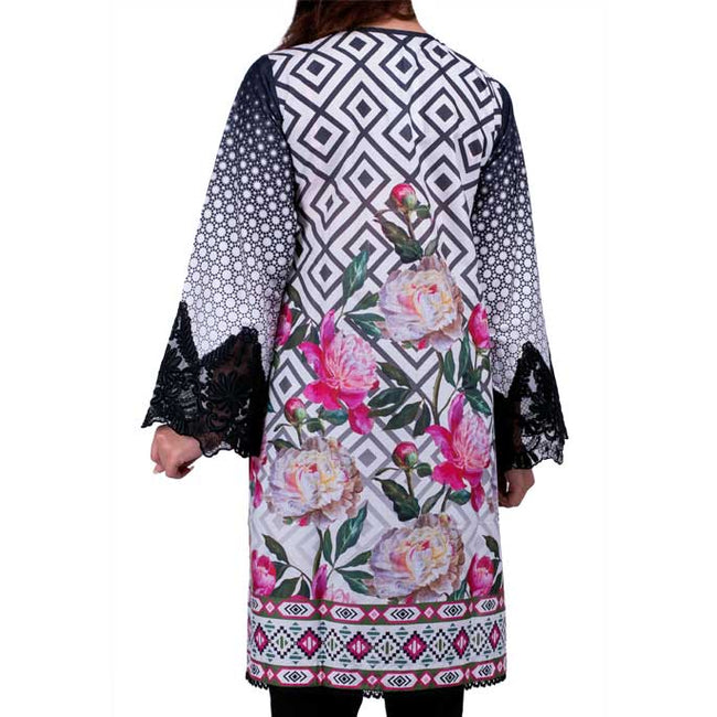 Digital Printed Stitched Kurti In White (WKL0045)