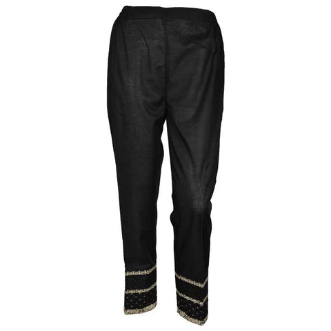 Women Cotton Trouser in Black SKU: WTR0028-BLACK