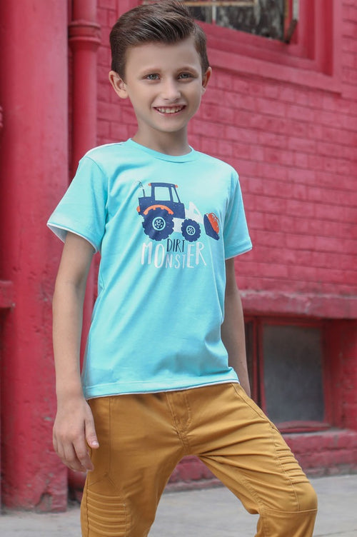 Boys Round Neck T-Shirt In L Blue SKU: KBA0177 L Blue