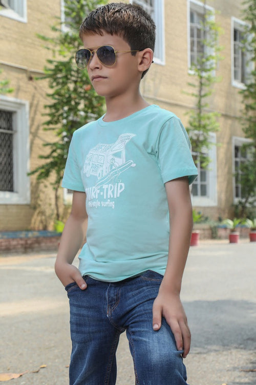 Boys Round Neck T-Shirt In Sea Green SKU: KBA0188-Sea Green