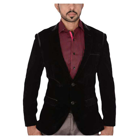 Two Button Regular Mens Blazer in Black SKU: CA3835-BLACK