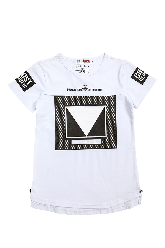 Boys  T-Shirt In White KBA-0111-White - Diners