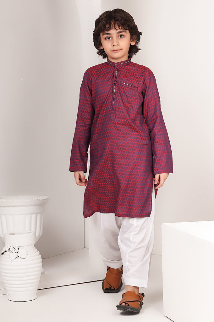 Boys Kurta In Mehroon
