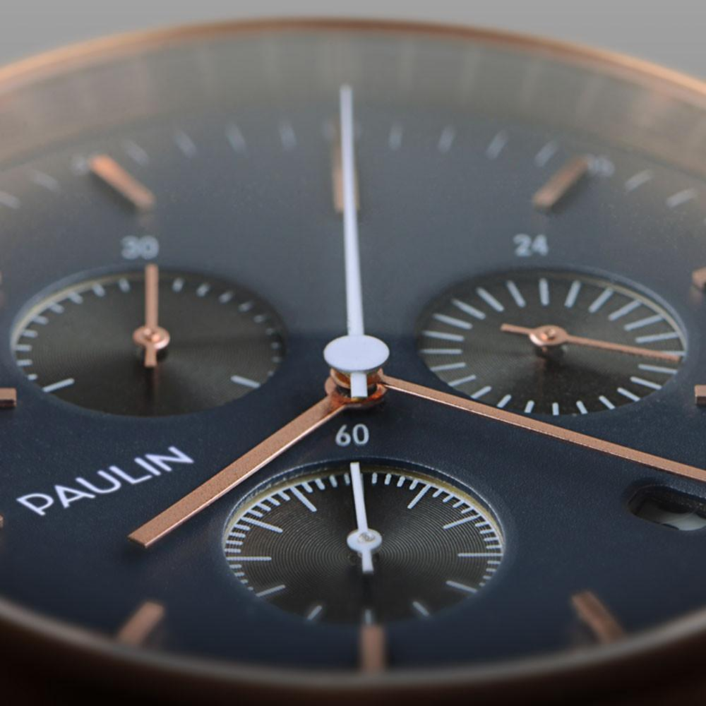 Close up of the classic and elegant C201 Chronograph by Paulin Watches