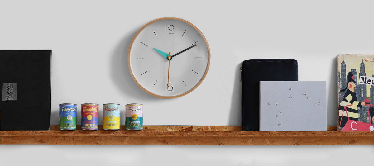 Our colourful geometric wall clock in context