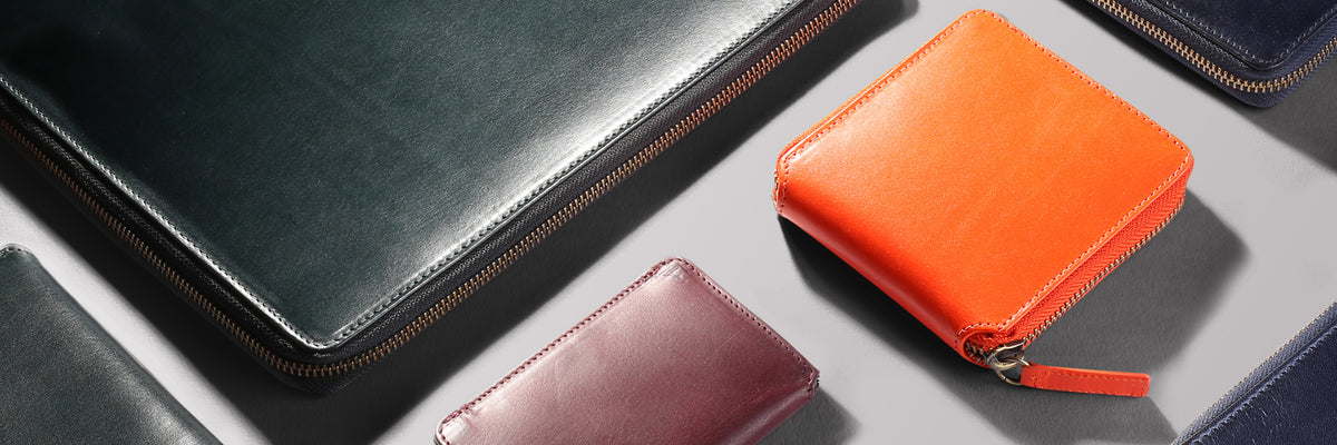 Range of vegetable tanned full grain leather goods and accessories by Paulin