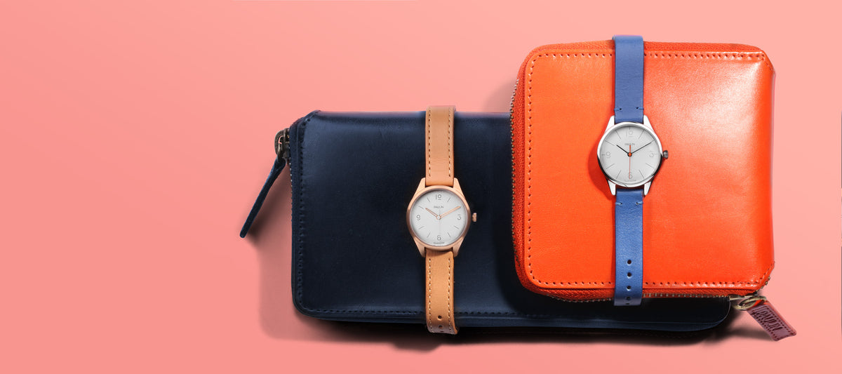 Geo Mini watches, full grain Italian leather wallet and continental purse