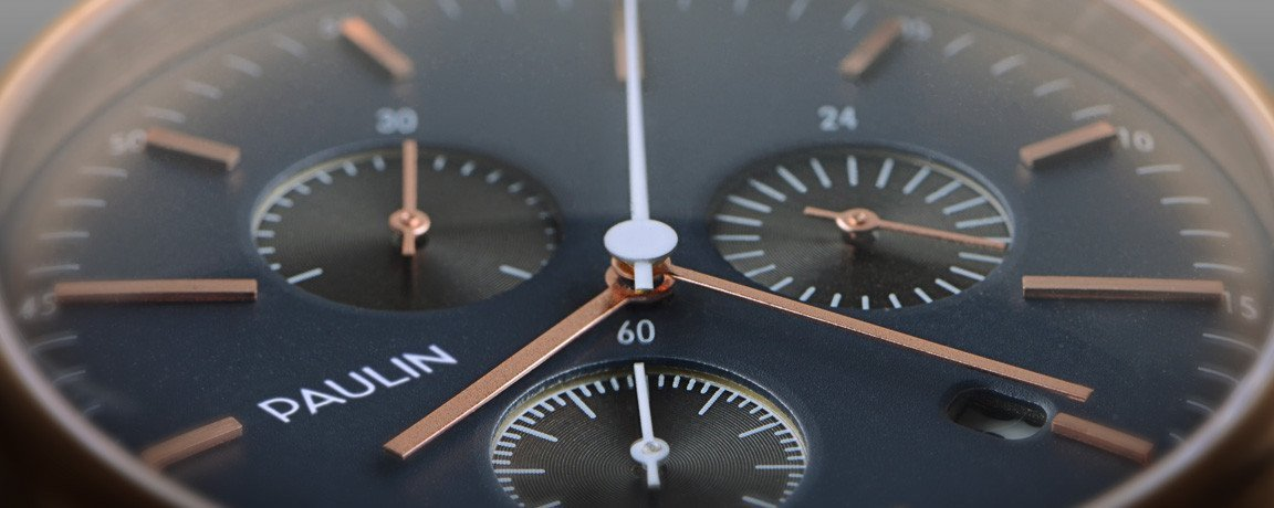Close up of the C201 Chronograph by Paulin Watches