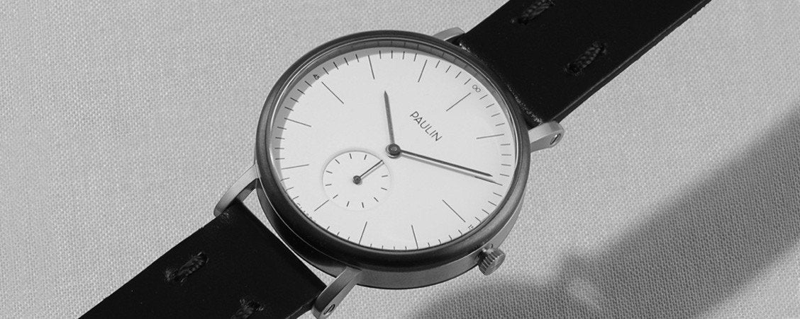 Angled view of the Commuter A - a simple, elegant British design by Paulin Watches