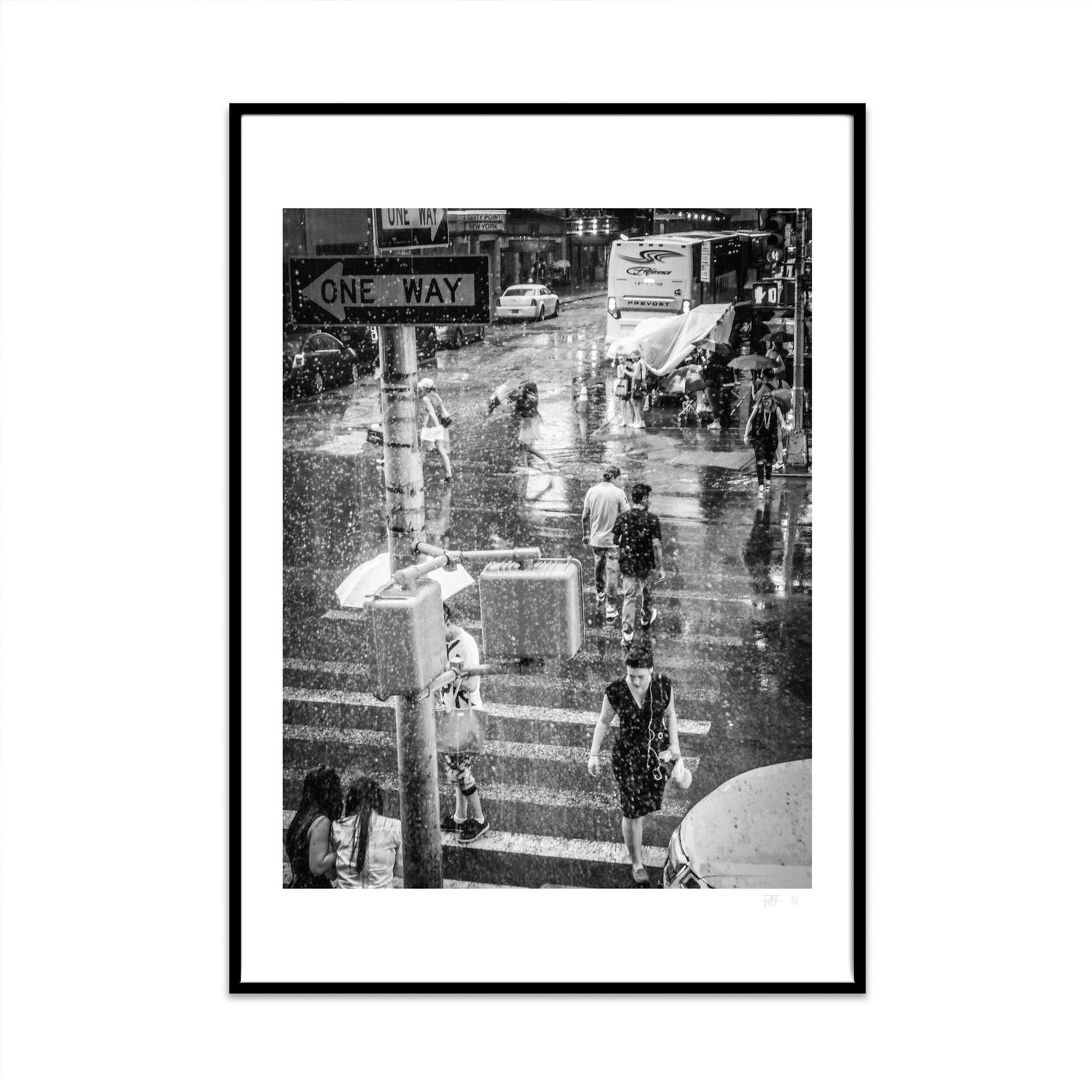 A black and white photography fine art print of a New York Street with various people crossing the road while it is raining. shot taken by Phil at what Phil sees.