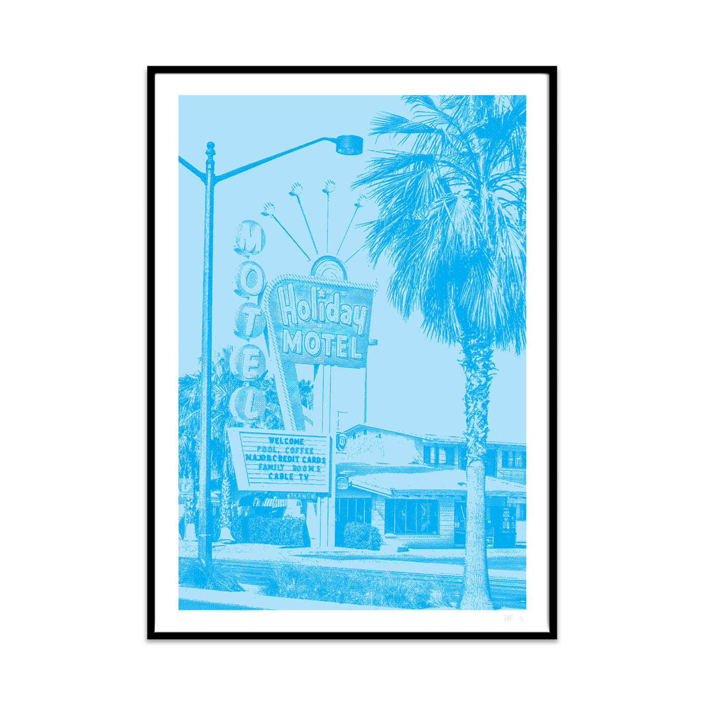what Phil sees creates limited edition typography and photography high quality art prints. This prints is called the cyan motel.