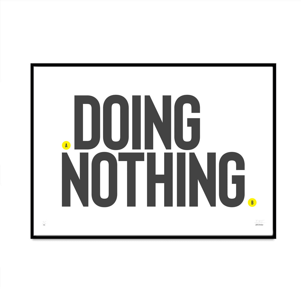 special doing nothing limited edition print spot of yellow edition created by phil christer modern stylish typography for your home