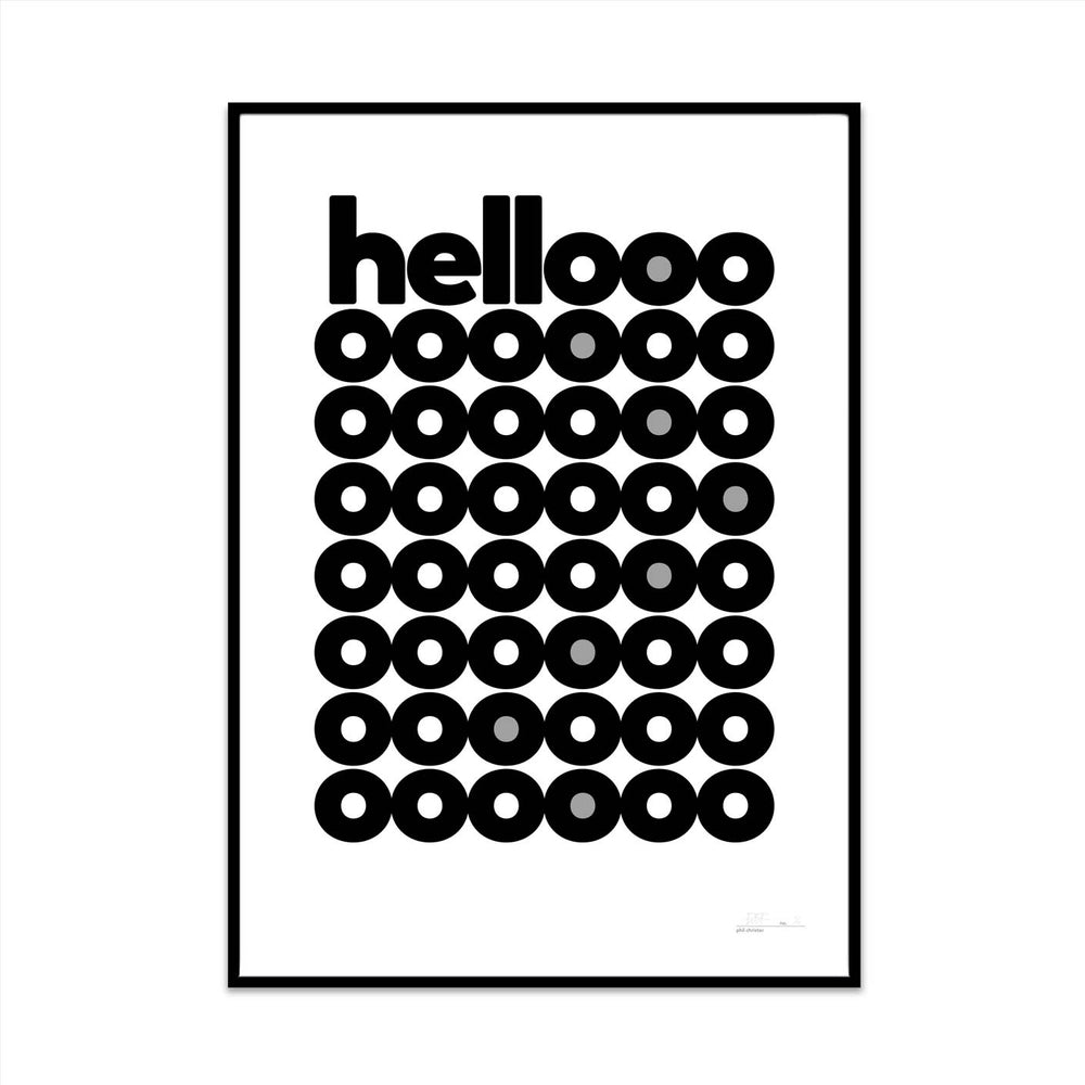 limited edition typography art print for your home gallery wall created by what phil sees called hellooo bnw edition