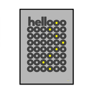 hello spot of yellow edition modern stylish typography art print created for your home by phil christer