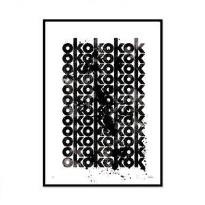 ok typography limited edition art print for your modern stylish home as a feature wall piece created by phil christer