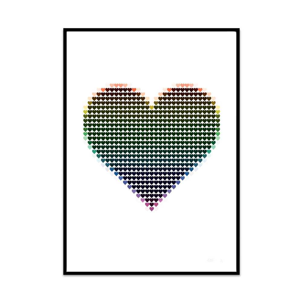 my pixel heart rainbow edition illustration limited edition art print for your home decor gallery wall at home. created by phil at what phil sees.
