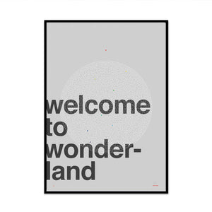 return to wonderland typography limited edition art print for you stylish modern home decor created by phil christer for what phil sees
