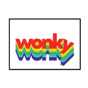 wonky typography limited edition print 70s tv show style for your home gallery wall design by what phil sees