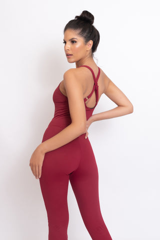 Sculpt Signature Jumpsuit Cherry