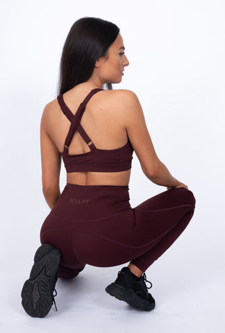 N.B Crossback Sports Bra Burgundy