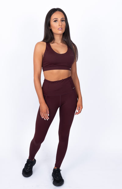 N.B High Waisted Leggings Burgundy
