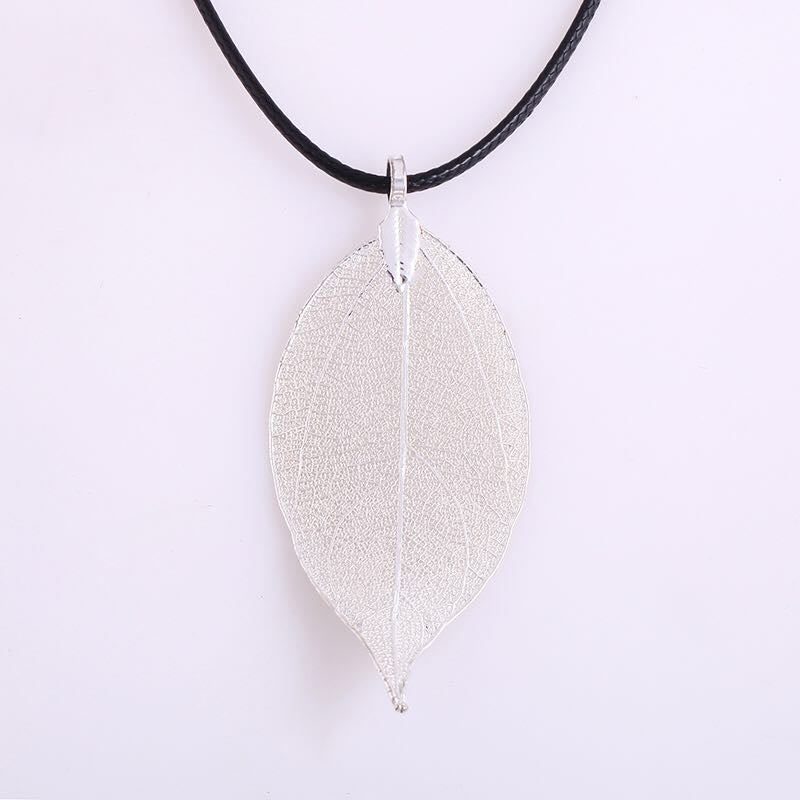 cool natural leaf pendant necklace