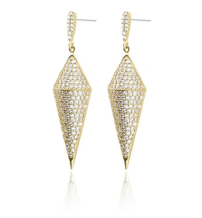 the elegant luxury cone shape fine copper-plating gold with AAA grade zircon stone earring