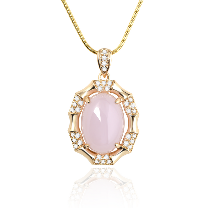A gorgeous gold plating pink gem stone pendant necklace