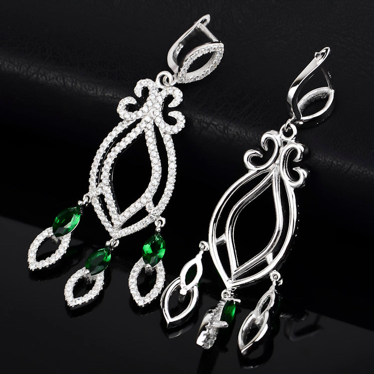 The elegant emerald stone 925 sterling silver luxury necklace set