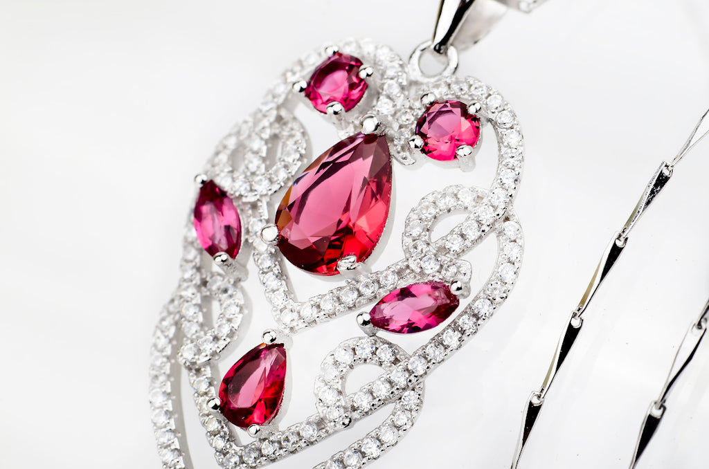 luxury rose-bengal gem stone 925 sterling silver necklace set