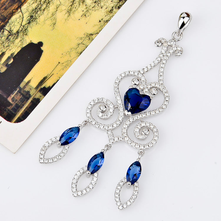 The luxury deep ocean blue gem stone 925 sterling silver necklace set