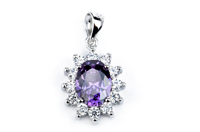 Classic sapphire stone with 925 sterling silver pendant necklace