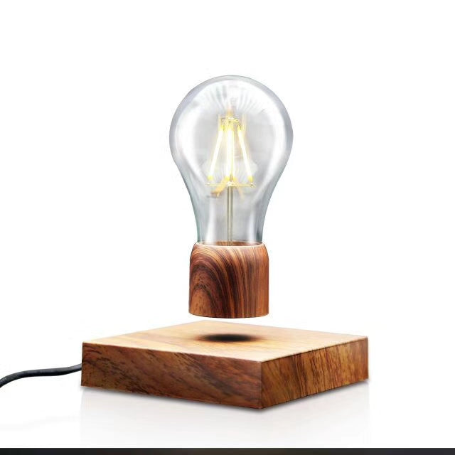 vintage fine walnut wood levitation floating LED light bulb lamp 2017 gift home decor desk display