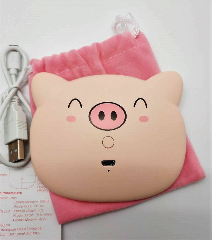 Cute cartoon pig LED light makeup mirror