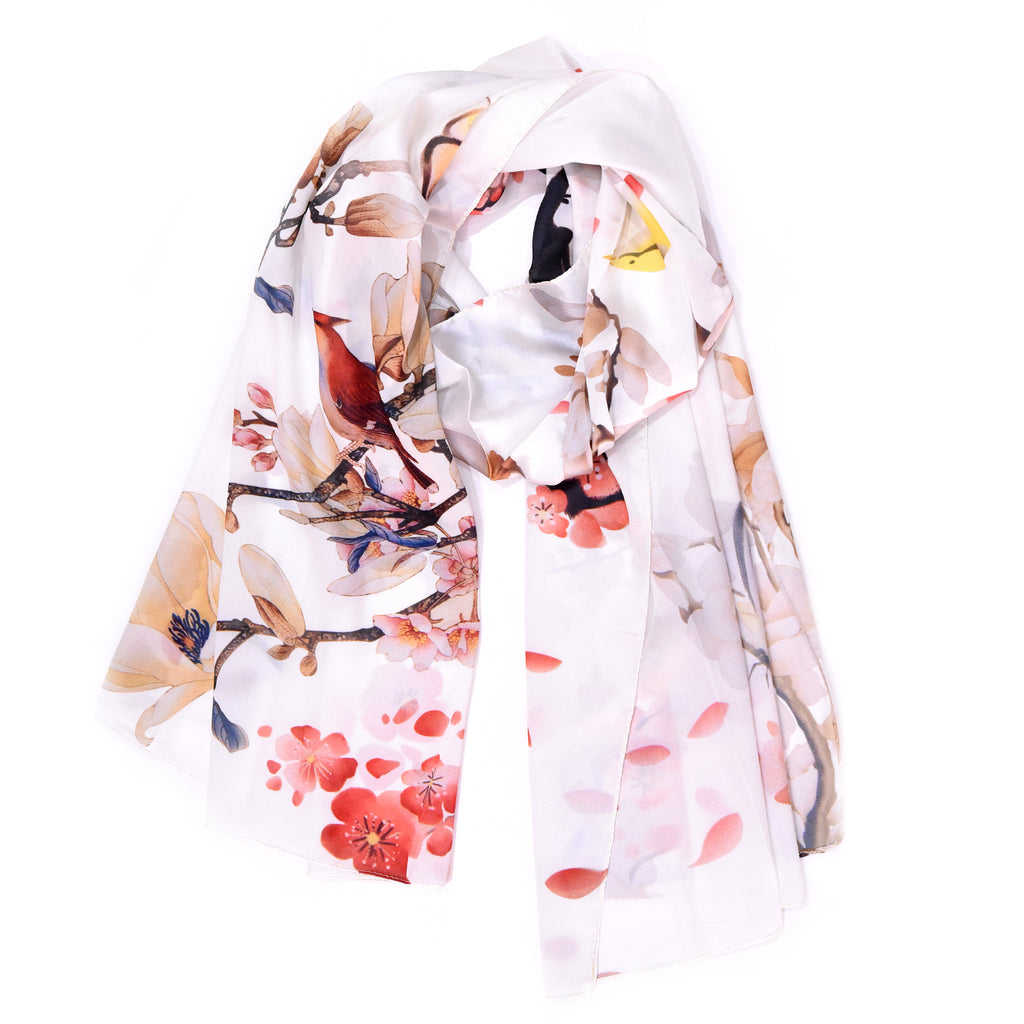 Luxury floral design imitated silk oriental style scarf with pretty gift box