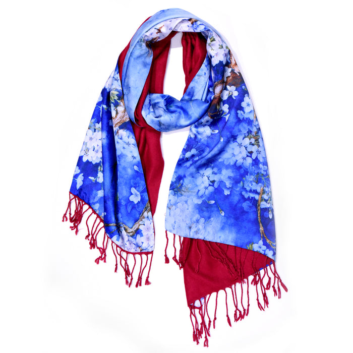 The luxury double-sided oriental pretty floral print silk scarf for remembrabce sunday veterans day holiday party unique gift