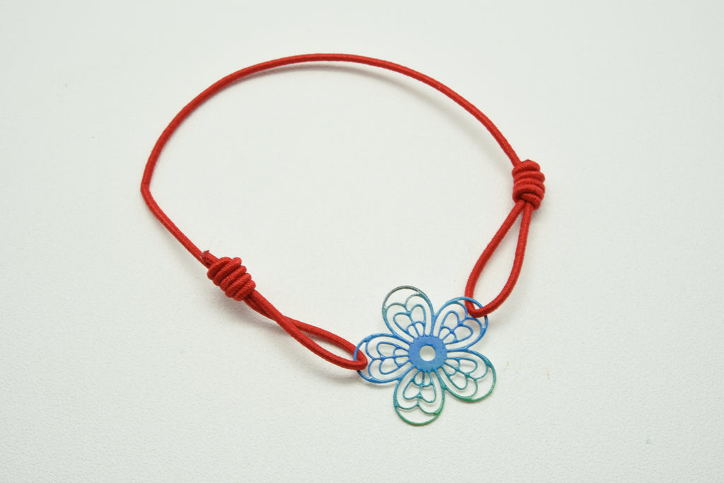 red line fashionable sweet flower elastic bracelet girls best friend value package