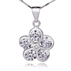 classic flower necklace 925 sterling silver with zircon stone