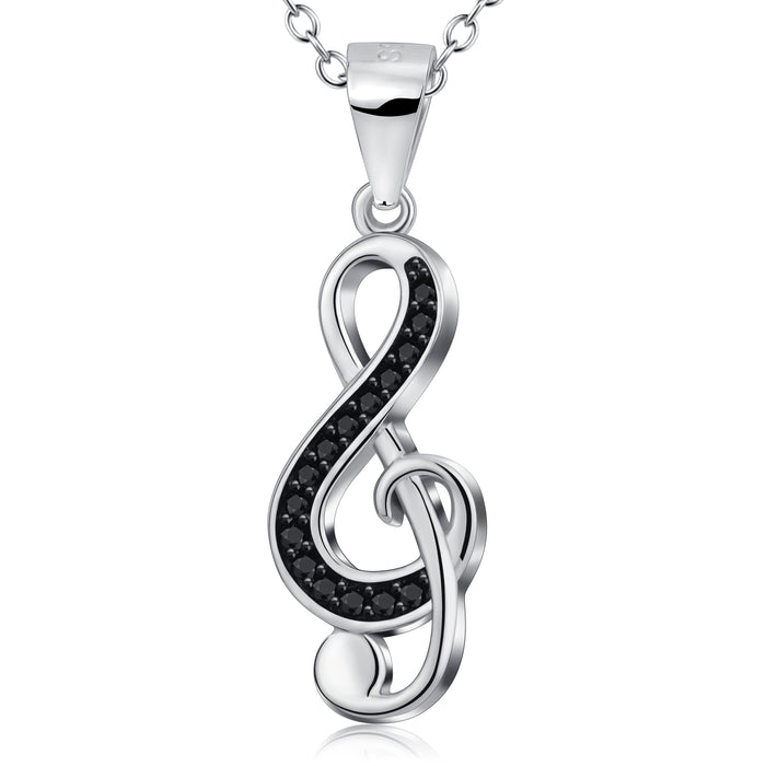 The elegant soul of music shape 925 sterling silver necklace