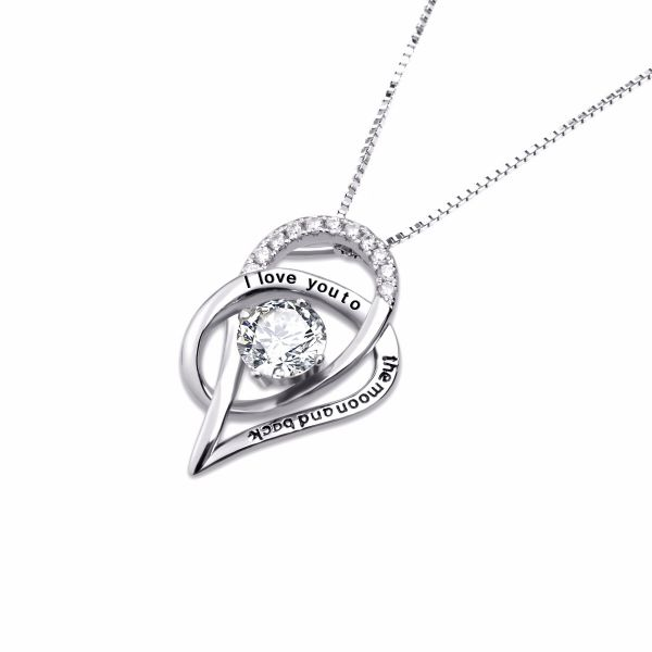 The beautiful 925 sterling silver twist heart shape with fine zircon stone necklace