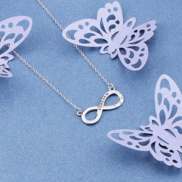 Fashionable infinty love knot 925 sterling silver necklace